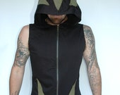 Pacha Play Lotrix Mens Vest- Hooded Ninja- tribal- techno- psytrance - PachaPlay