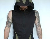Pacha Play Lotrix Mens Vest- Hooded Ninja- tribal- techno- psytrance