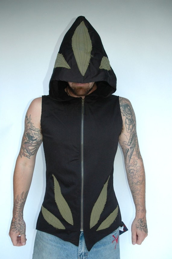 Pacha Play Lotrix Mens Vest- Hooded Ninja- tribal- techno- psytrance