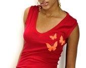 Tangerine, Lilac and Fuschia Butterfly V Neck Sleeveless Tee