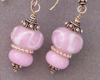 Pink Glass Lampwork Bead Earrings