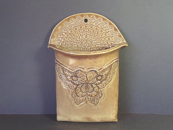 butterfly lace wall pocket vase . tan
