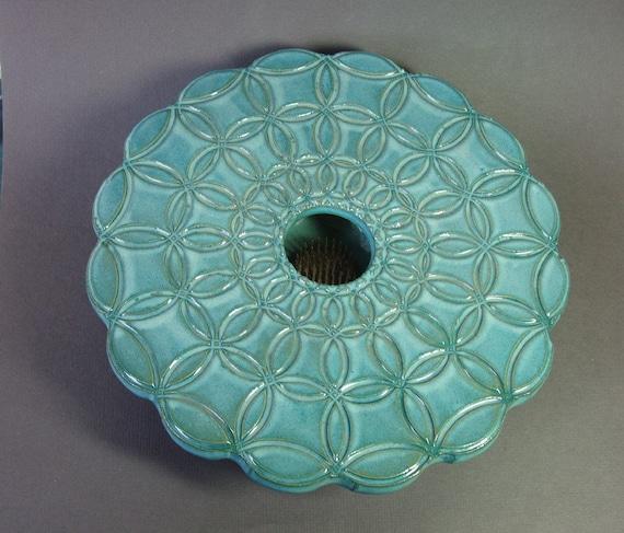 Blue Circle Vase Ikebana Style Flower Arranger