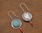 2 Sides to Every Coin Earrings sterling silver turquoise coral