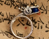 blue sapphire 18k gold sterling silver year of the dragon ring