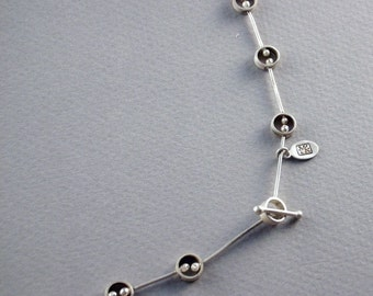 beady necklace in sterling silver