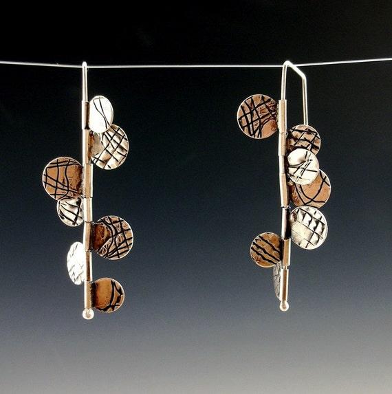fringe hinge kinetic earrings sterling silver hand made