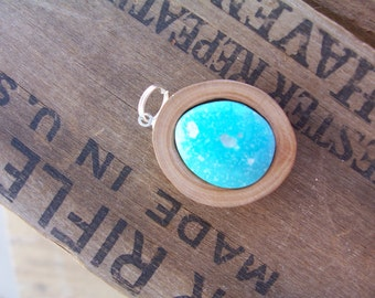 Cherry Branch with Inlaid Turquoise Pendant