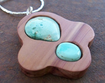 Natural Kingman Turquoise Three Lobe Cedar Pendant on Chain