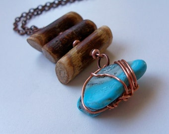 Turquoise and Twigs  on Copper Chain