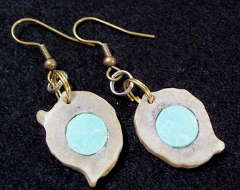Inlaid Kingman Turquoise Earrings  in Deer Antler