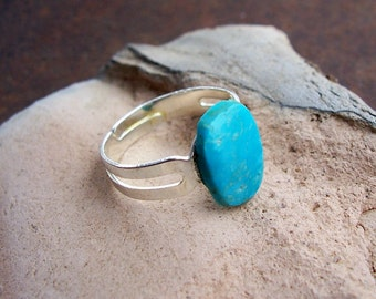 Natural Untreated Kingman Blue Turquoise Adjustable Ring