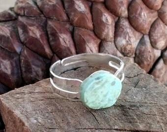 Adjustable Ring with Kingman Turquoise Stone