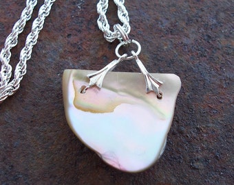 FOXAZ Abalone Shell Pendant on 16 inch Silverplated Chain