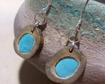 Sterling Silver Turquoise and Deer Antler Earrings
