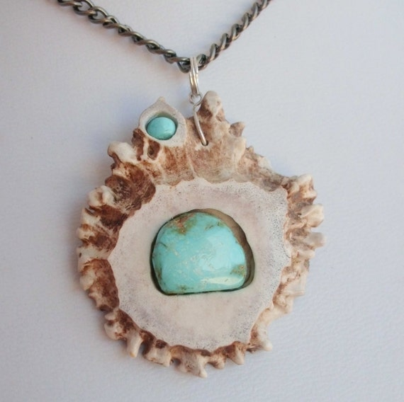 Naturally Shed Deer Antler Burr Pendant Necklace with Inlaid Kingman Turquoise Cabs