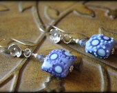 Sterling Artisan Hand-wrapped Lampwork Blue Ornate Square Pillow Earrings - SALE 40% Off!