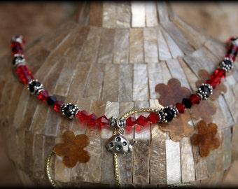 """LITTLE ReD LADYBUG Red & Black Sterling Crystal Necklace Size 18"""" - SALE!"""