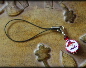 Red and Purple RED HAT Polymer Clay Wire-Wrapped Clip-to-Anything Charm - SALE 50% Off!