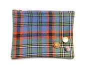 Angus Tartan Pouch Purse with vintage buttons...