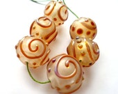 HOLLOW LACE - Pearl - LAMPWORK GLASS BEAD SET - FREE SHIPPING FOR ANY ADDITIONAL ITEMS.