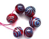 HOLLOW LAMPWORK GLASS BEAD SET - Ruby Kronos - FREE SHIPPING FOR ANY ADDITIONAL ITEMS.