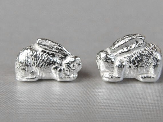 itsy bitsy silver bunny rabbit earrings by kimberlynogueira