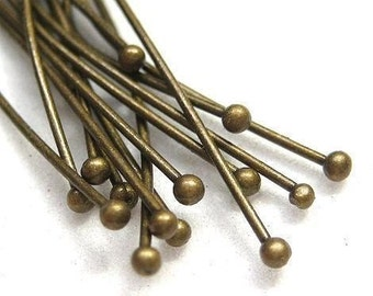 50pcs Antique Bronze headpins with ball