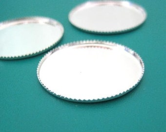 10pc round 25mm silver plated bezel setting BZ513S