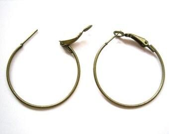 20pcs 35mm Antique bronze ear loop hoop