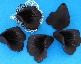 10pcs Black Lucite Frosted Iris Flower Beads