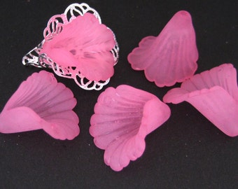 10pcs pink Lucite Frosted Iris Flower Beads