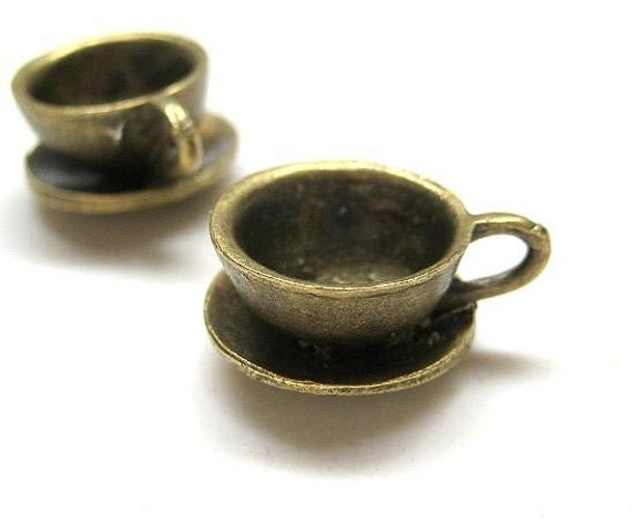 4pc Antique Bronze cup pendant charm CH496