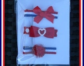 Set of 3 hairbows-  Red, White and Blue