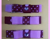Hairbow clips- light pink with polka dots