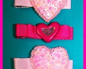 set of 4 hair clips love hearts