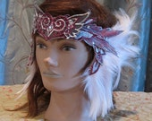 Feathery Valentines' Fairy Crown in Light Pink and and Silver