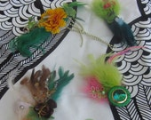 Mardi Gras Party Pack of 6 Feather Hair Fascinators in Shades of Green