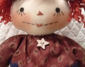 Primitive Cute Americana Raggedy Ann type doll with prim flag