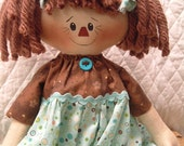 Primitive Cute Raggedy Ann type doll in turquoise and brown