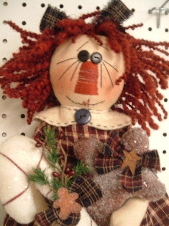 Christmas Ornament Collector Primitive Rag Doll