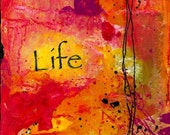 LIFE Original Collage on Stretched Canvas Positive Thoughts Series by Kathy morton Stanion EBSQ