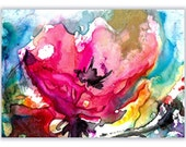 COLORFUL BLOOM 3 Original Abstract Floral Watercolor painting EBSQ ACEO ACETSY Team