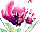 """Pink Flower Watercolor painting, Poppy Art. Poppies, Abstract Floral, Original on YUPO  """"Abstract Floral 20"""" by Kathy Morton Stanion EBSQ"""