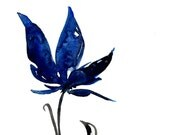 Blue Bloom ... Original abstract floral flower Watercolor painting EBSQ ... Free Shipping