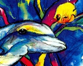 Dolphin and Friend ... Beautiful print from original watercolor painting EBSQ