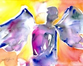 """Angel Painting, Abstract Watercolor Art, """"Angel 14"""" - Original similar to the one featured in West Elm by Kathy Morton Stanion EBSQ"""