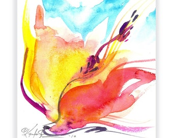 """Abstract Flower painting, Floral Watercolor Art, Spiritual Art, Yellow, Orange, """"SOUL FLOWER 50"""" by Kathy Morton Styanion EBSQ"""