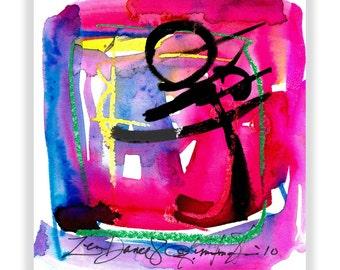"Enso Abstract Painting, Pink Zen Watercolor  Art, ""ZEN DANCE 8"" Original Contemporary Modern Watercolor art by Kathy Morton Stanion EBSQ"