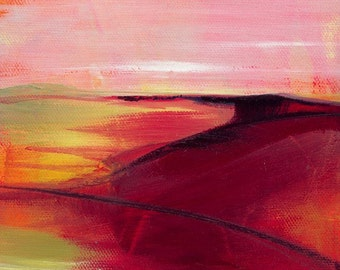 """Abstract Oil landscape painting, red, pink, orange, salmon, color art, contemporary abstract """"Dreamscape 10"""" Kathy Morton Stanion EBSQ"""